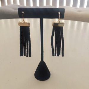 Blacks Suede Fringe Earrings